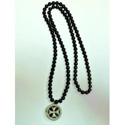 Медальон латут.георгиевский крест на гагатовой цепочке
