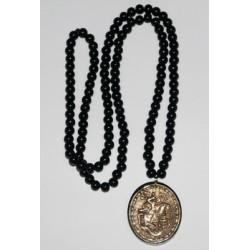 Медальон с Георгием на гагатовой цеп.