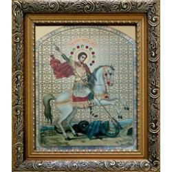 Георгий(на коне) Икона лик с камнями в баг.рам 15х18  ПС3194