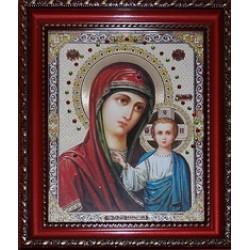 Казанская Икона лик с камнями в баг.рам 15х18  ПС159
