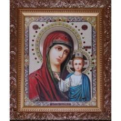 Казанская Икона лик с камнями в баг.рам 15х18  ПС3194