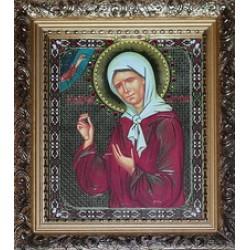 Матрона Икона лик с камнями в баг.рам 15х18  ПС3194