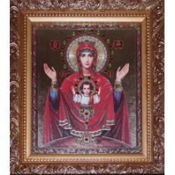 Неупиваемая чаша Икона лик с камнями в баг.рам 15х18  ПС622
