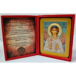 Ангел Хранитель Икона Греческая писаная  в бархатной коробке
