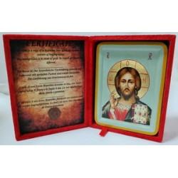Спаситель Икона Греческая писаная  в бархатной коробке
