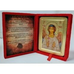 Ангел Хранитель Икона Греческая писаная на золоте в бархатной коробке