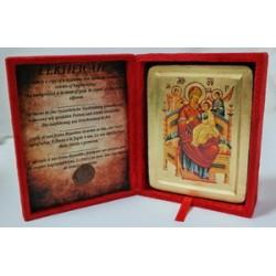 Всецарица Икона Греческая писаная на золоте в бархатной коробке