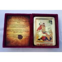 Георгий  Икона Греческая писаная на золоте в бархатной коробке