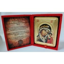 Казанская Икона Греческая писаная на золоте в бархатной коробке