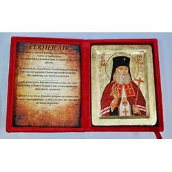 Лука Икона Греческая писаная на золоте в бархатной коробке