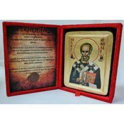 Николай Икона Греческая писаная на золоте в бархатной коробке