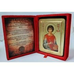 Пантелеймон Икона Греческая писаная на золоте в бархатной коробке