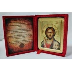 Спаситель Икона Греческая писаная на золоте в бархатной коробке