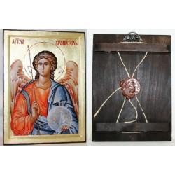 Ангел Хранитель Икона Греческая писаная на золоте в коробке 17*23