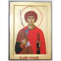 Георгий  пояс. Икона Греческая писаная на золоте в коробке 17*23