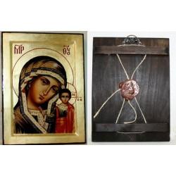 Казанская Икона Греческая писаная на золоте в коробке 17*23