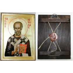 Николай Икона Греческая писаная на золоте в  коробке 17*23