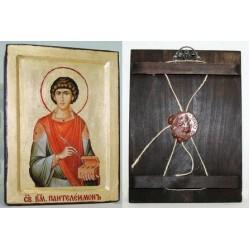 Пантелеймон Икона Греческая писаная на золоте в  коробке 17*23