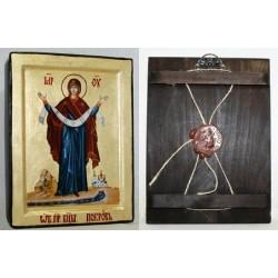 Покрова Икона Греческая писаная на золоте в  коробке 17*23