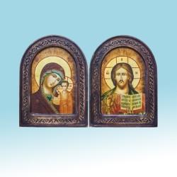 Казанская +Спаситель 170х230 Арочн с резб АНТИК цена за пару