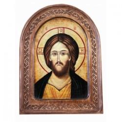 Спаситель Икона  АНТИК  с резьбой в коробке13х17