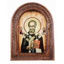 Николай Икона  АНТИК  с резьбой в коробке13х17