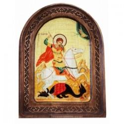 Георгий Икона  АНТИК  с резьбой в коробке13х17