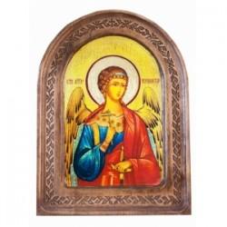 Ангел Хранитель Икона  АНТИК  с резьбой в коробке13х17