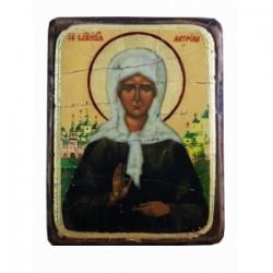 Матрона Икона  Греческая под старину ФРЕСКА 13х17
