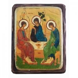 Троица Рублева Икона  Греческая под старину ФРЕСКА 13х17