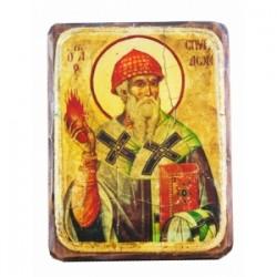 Спиридон Икона  Греческая под старину ФРЕСКА 7х10