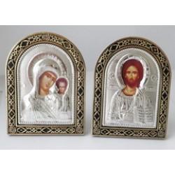 Арочная икона пластм. с ризой  8*10,5 см (1113-139) в ящ 300 шт цена за пару