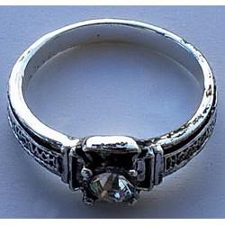 Кольцо с камнем К упаковка 20 шт белое
