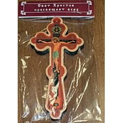 Крест малый дерев. распятье полиграфия  фигурный