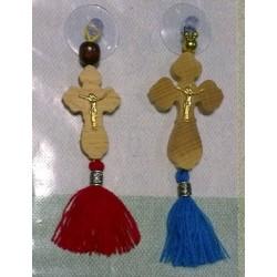 Крест с присоской дер фигурн с кисточкой 1 и 2,    30*95 и 32*95 мм