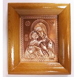 Икона на дереве литье Владимирская Пр-ца 6,5 х 8 см