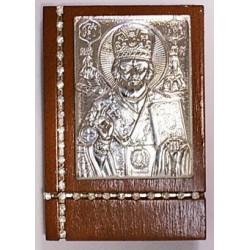 Икона на дереве литье Николай 4,5х6,4 см с камнями