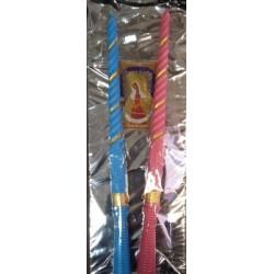 Свечи венчальные в коробке 2шт парафин син роз