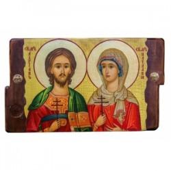 Андриан и Наталия Икона  Греческая под старину 170х230 двойная