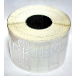 Крест наклейка для освящения  на пленке серебро 4,5 х 6,5см бухта 100 шт