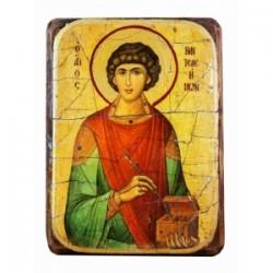 Пантелеимон Икона  Греческая под старину ФРЕСКА 7х10