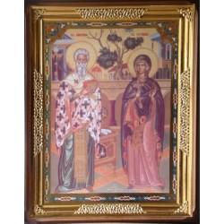 Киприан и Устинья 65х85 см киот фигурный