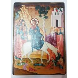 Вход Господен в Иерусалим Икона  Греческая под старину ХОЛСТ НИМБЫ 16х22
