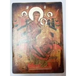 Всецарица Икона  Греческая под старину ХОЛСТ НИМБЫ 16х22