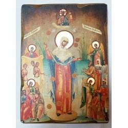 Всех Скорбящих Радость Икона  Греческая под старину ХОЛСТ НИМБЫ 16х22