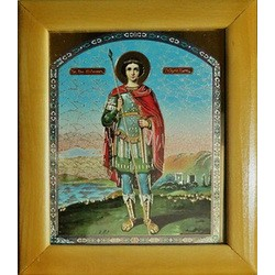 Георгий с копьем Деревянная рамка 15х18