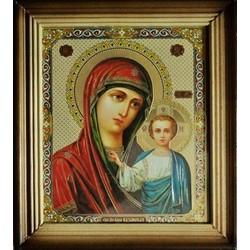 Казанская св. Деревянная рамка 15х18