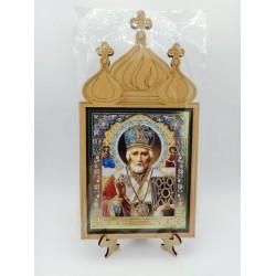 Николай  Иконы на подставке 10х12 без стекла Мир