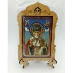 Николай Хранитель Иконы на подставке 6х9 без стекла Мир