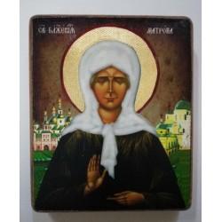 Матрона Икона  Греческая под старину ХОЛСТ НИМБЫ 10х12